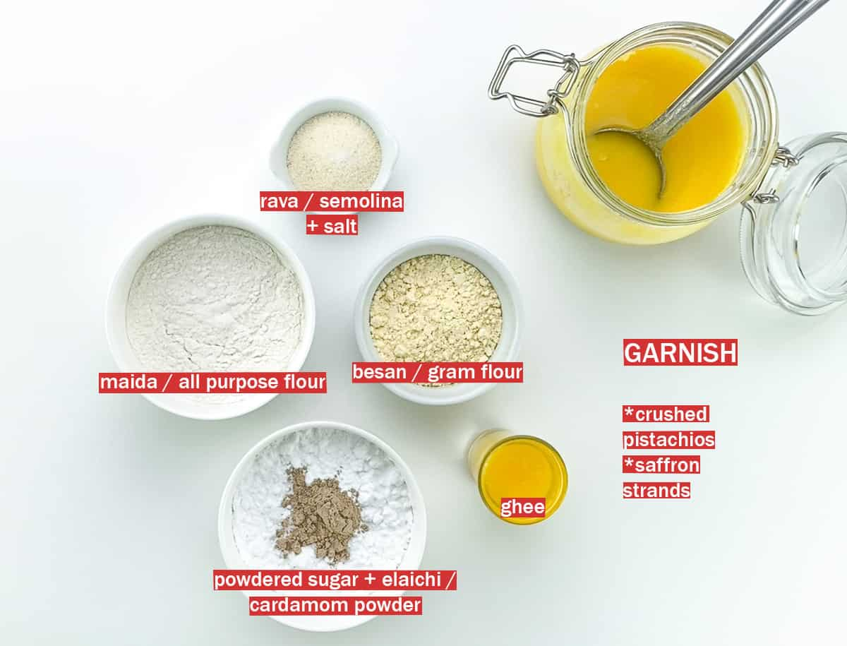 top shot of all the main ingredients to make nankhatai, along with ingredient labels