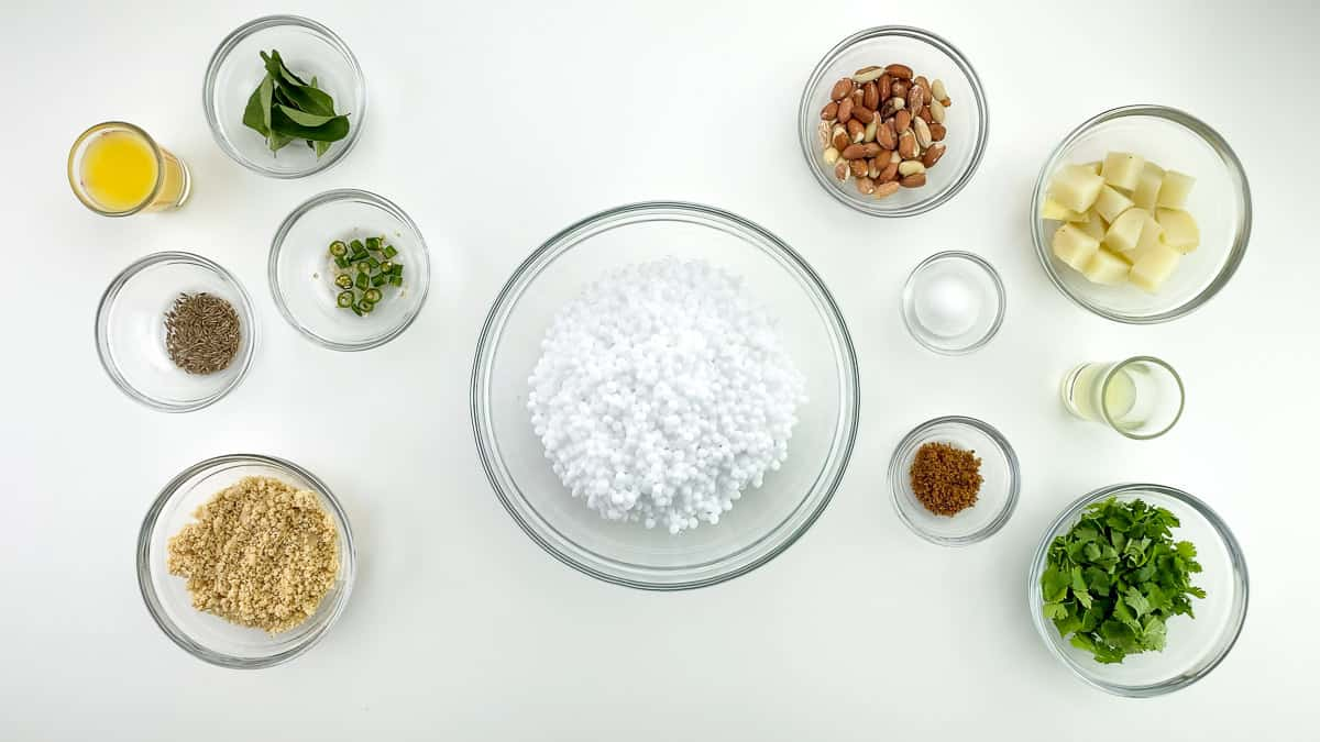 top shot of all the ingredients to make sabudana khichdi, along with ingredient labels