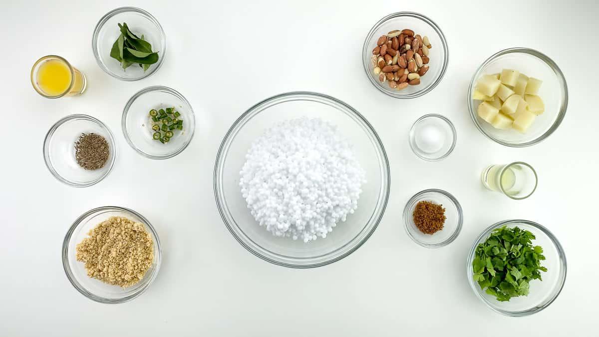top shot of all the ingredients required to make sabudana khichdi