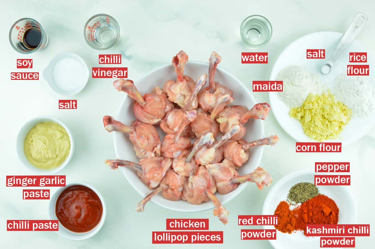 top shot of ingredients needed to make chicken lollipop at home
