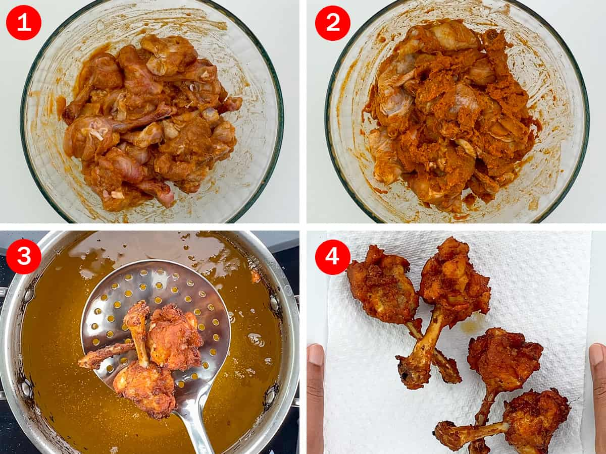 step by step photos of making chicken lollipop - from marinating chicken to deep frying the lollipop pieces