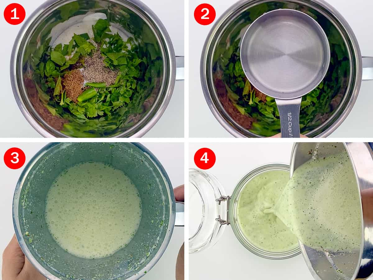 step by step photos of making Indian spiced buttermilk