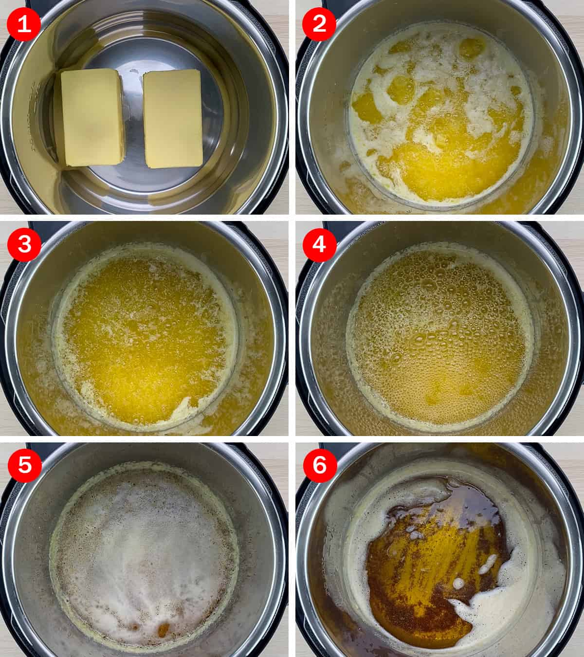 step by step photos of making ghee in the instant pot