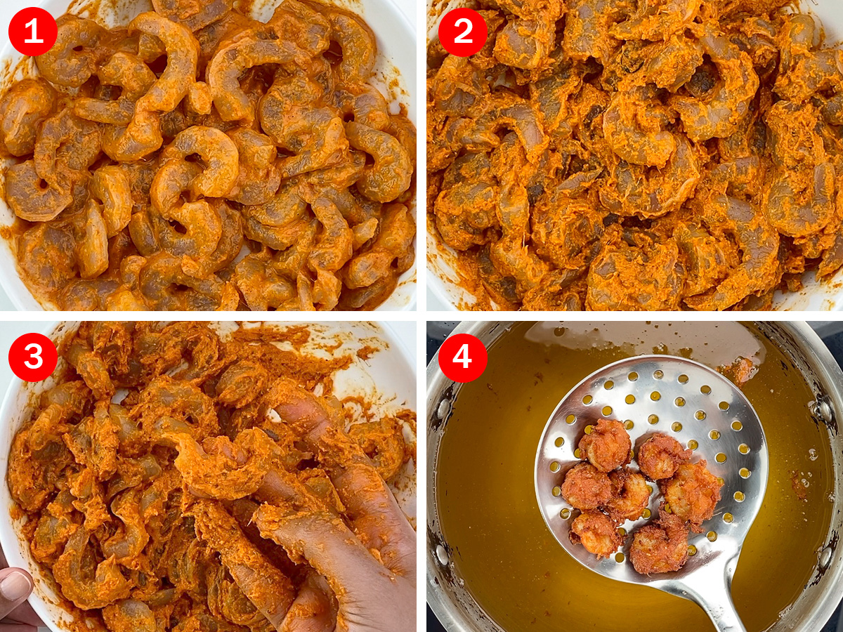step by step photos of making mumbai style prawns koliwada, from marinating the prawns with masala and then frying it