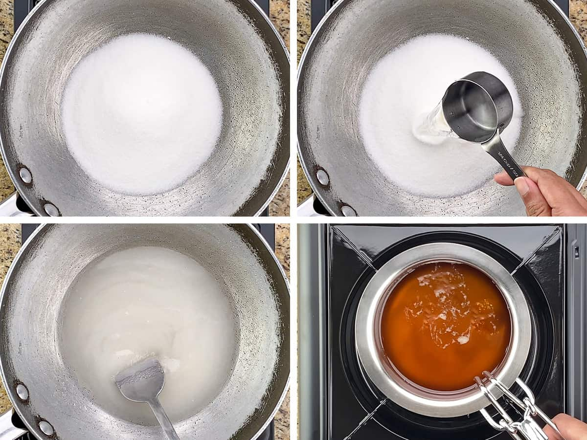 step by step photos of making mysore pak - the first few steps of heating sugar & water mix and ghee