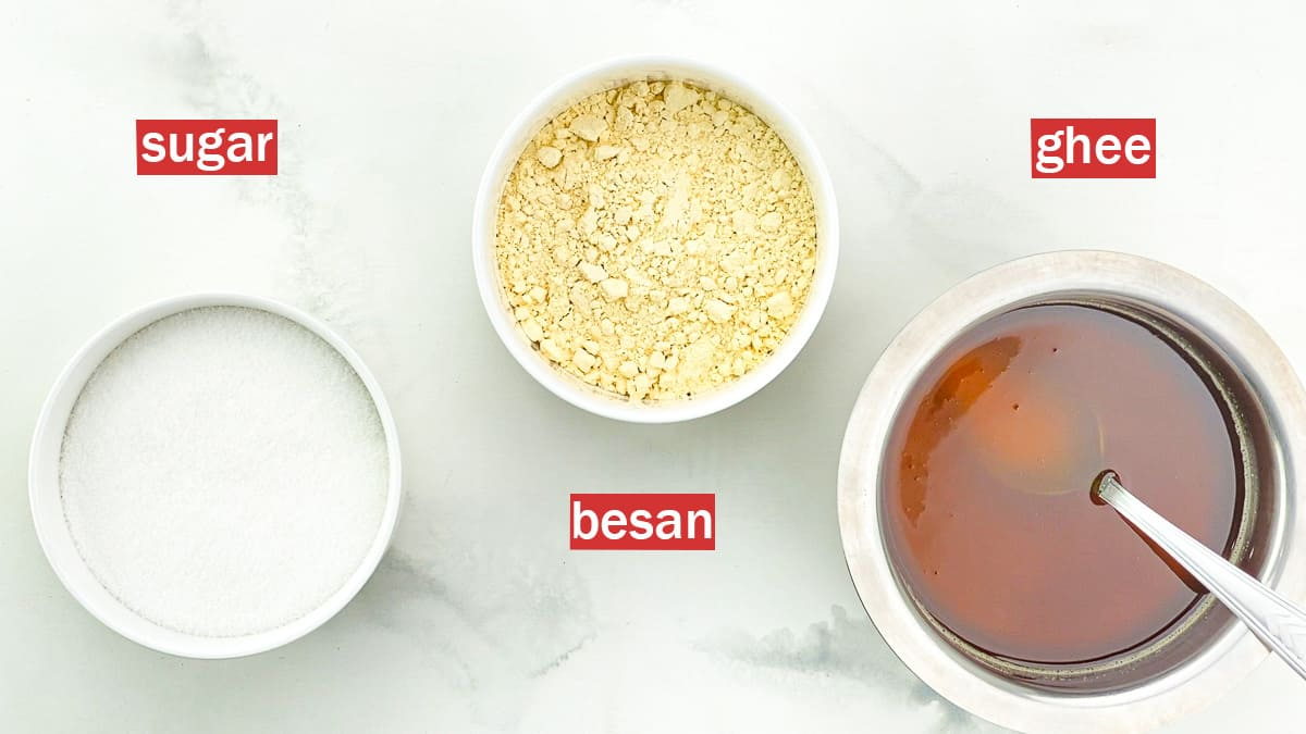 top shot of the 3 ingredients required to make mysore pak - besan, sugar and ghee
