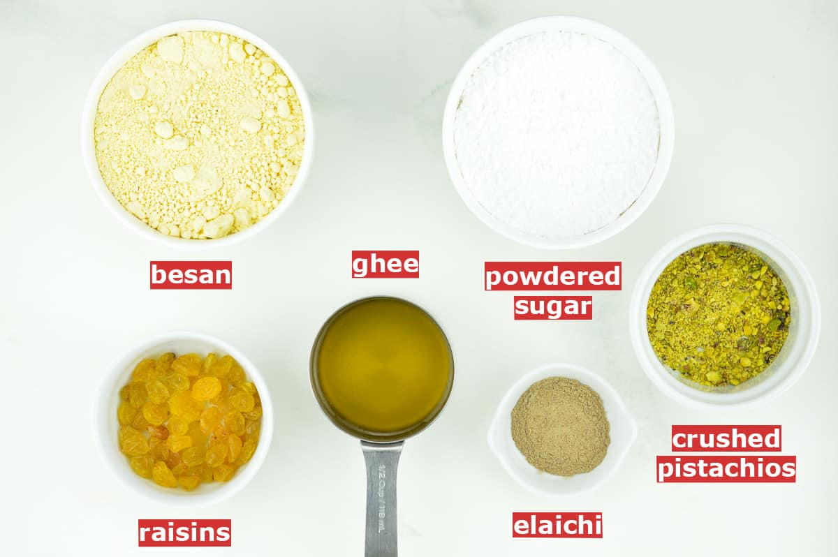 top shot of all the ingredients to make besan ladoo, along with ingredient labels