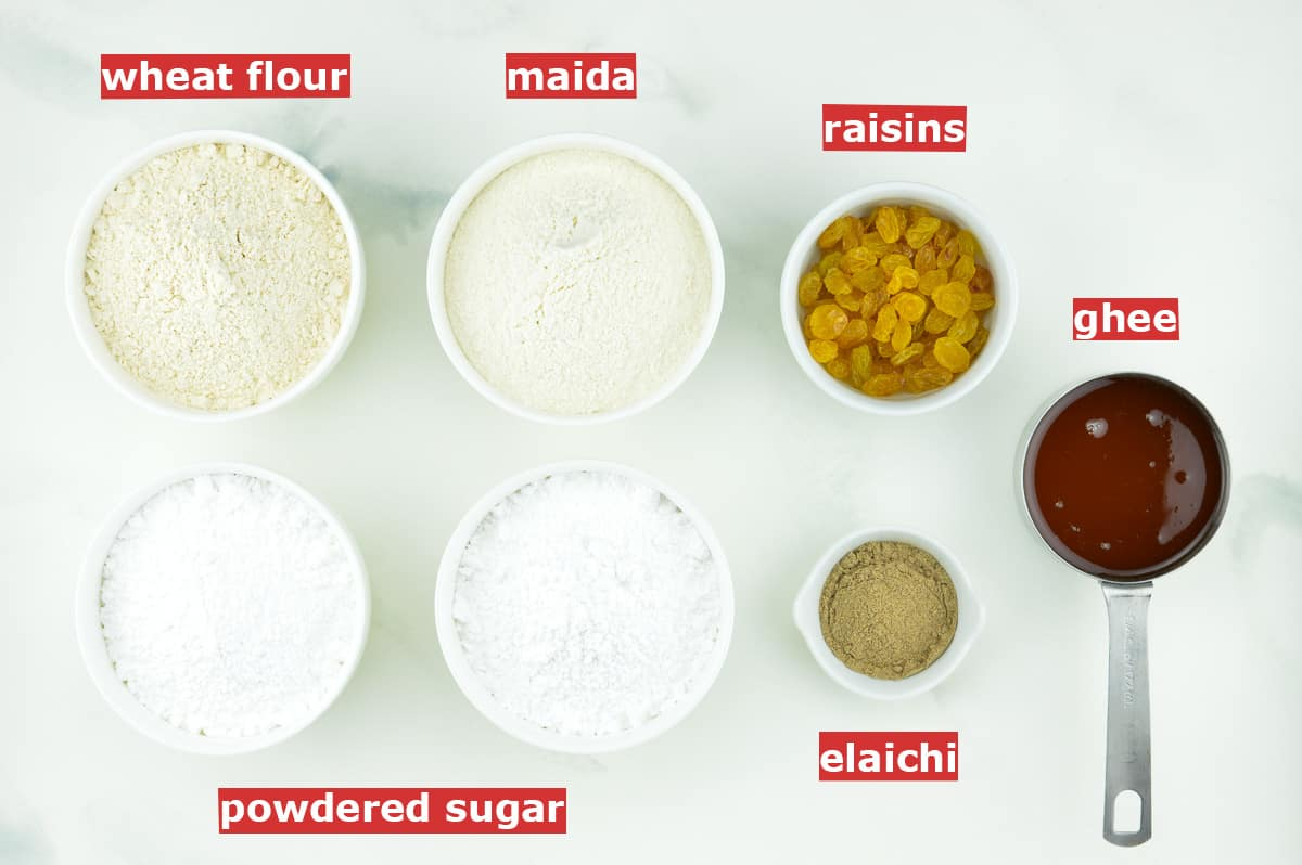 top shot of all the ingredients required to make churmundo, along with ingredient labels