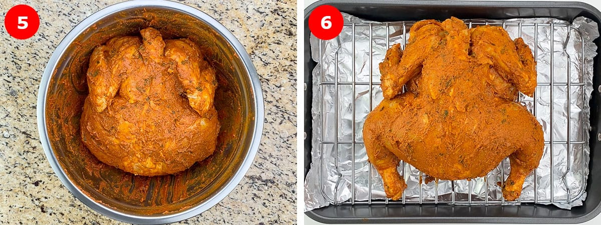 side by side shots of marinated whole chicken in a steel bowl, and then placed on a rack of an oven roaster