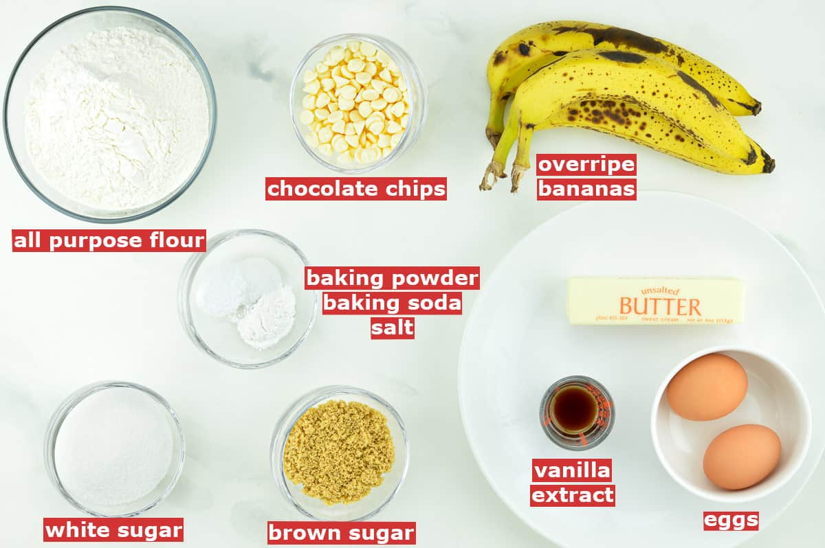 top shot of all the ingredients to make banana muffins with white chocolate chips