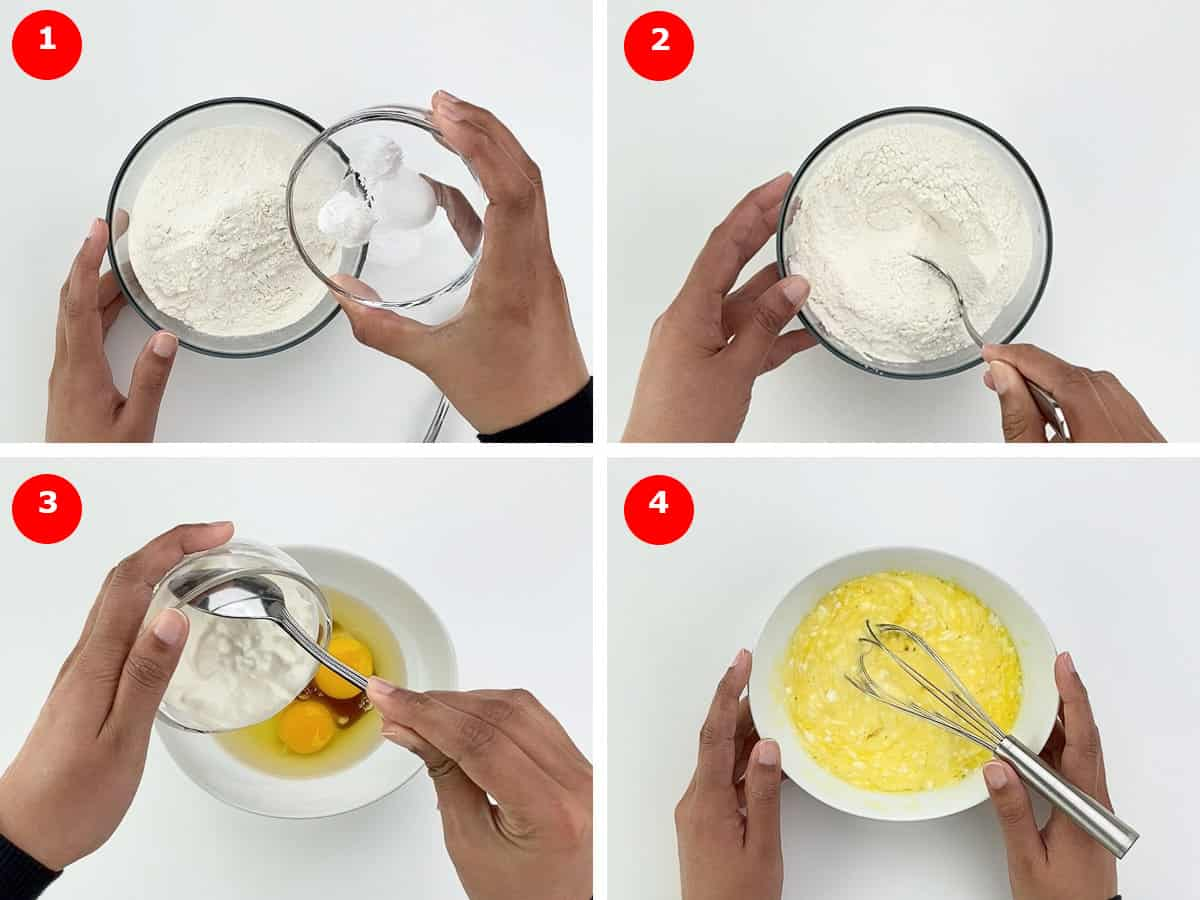 step by step photos of making white chocolate pound cake - mixing dry and wet ingredients in separate bowls