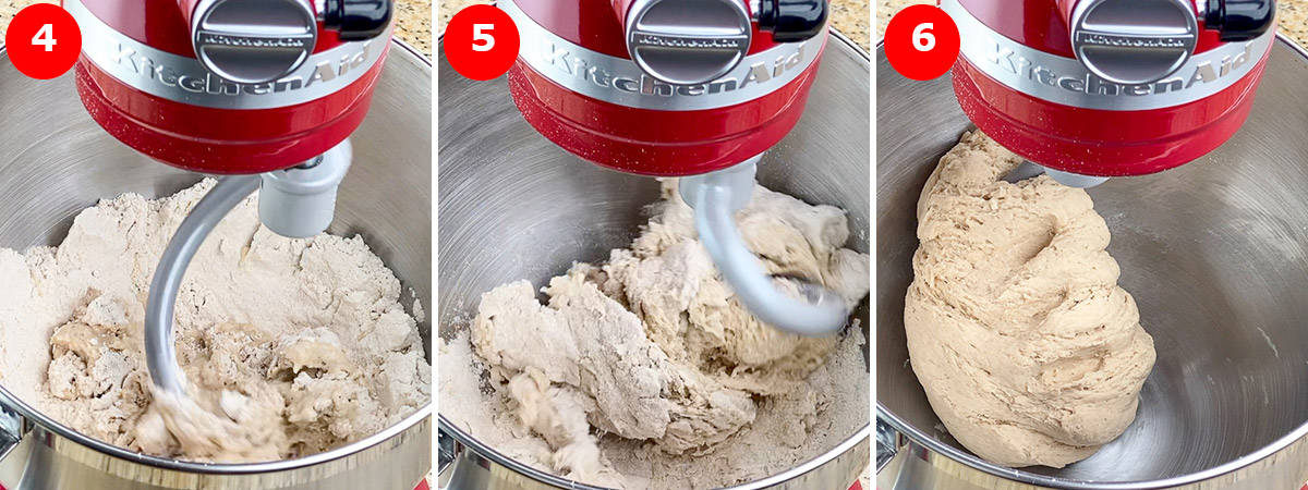 step by step photos of kneading roti dough in KitchenAid