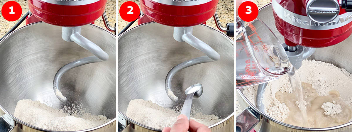 step by step photos of making roti dough in KitchenAid