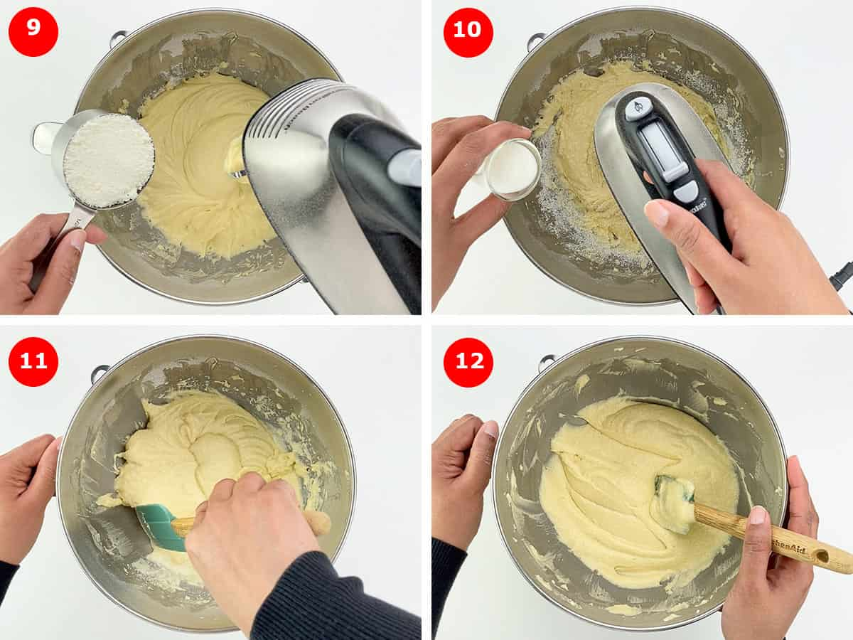step by step photos of making white chocolate pound cake batter - adding grated white chocolate, and milk, and finishing up the batter