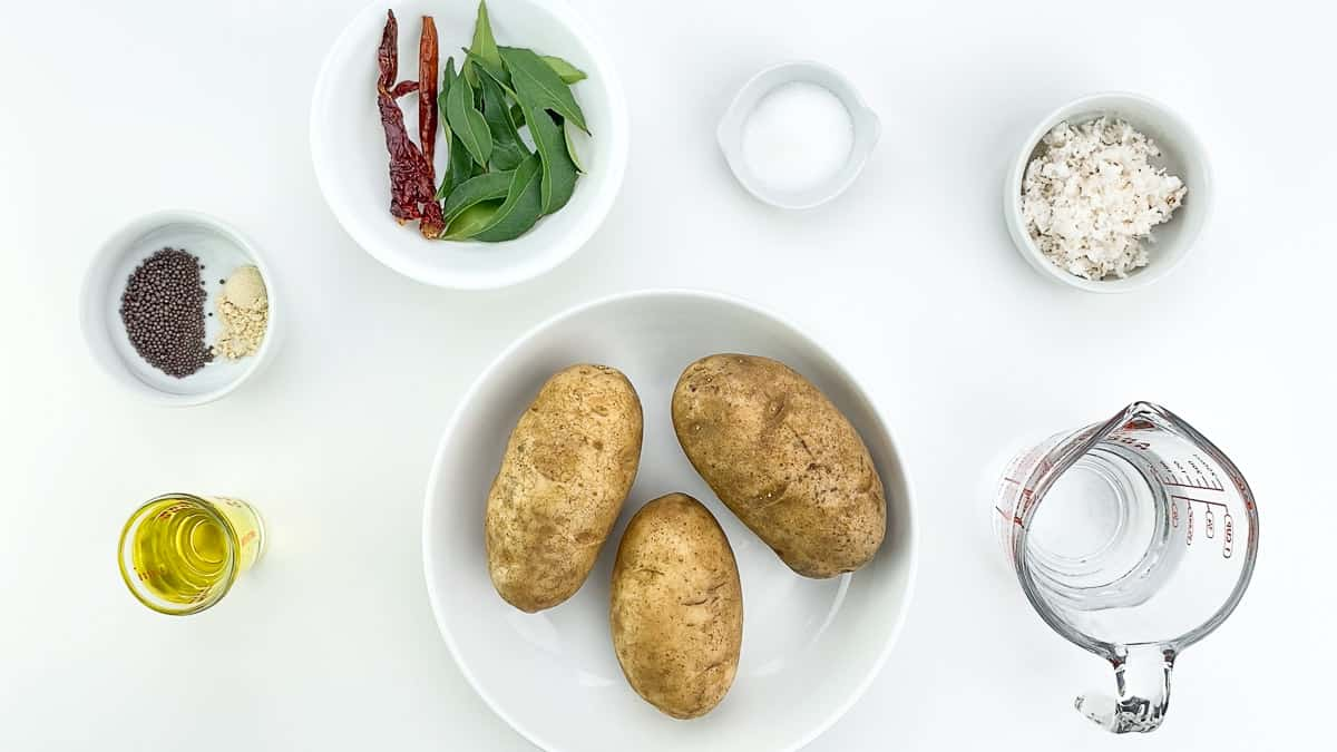 top shot of all the ingredients required to make batata upkari
