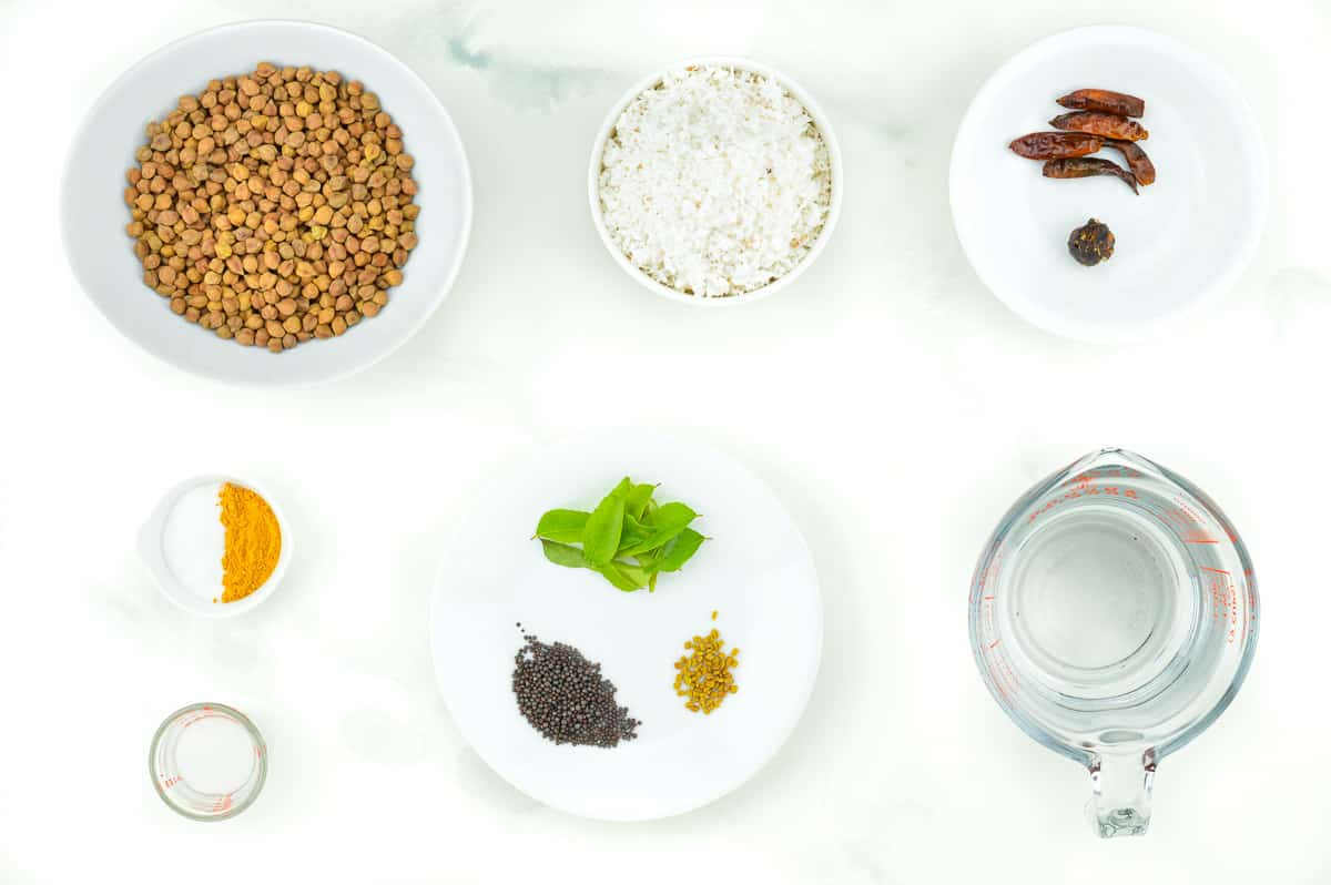 top shot of all the ingredients required to make chana ghashi