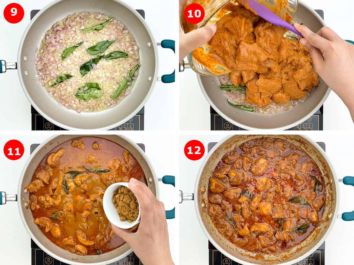 step by step photos of making ghee roast chicken