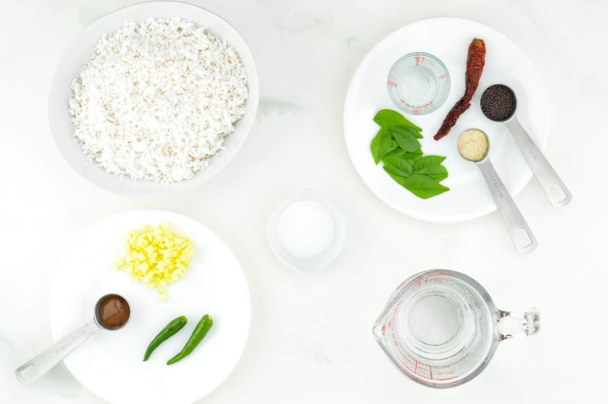 top shot of all the ingredients required to make south indian style coconut chutney