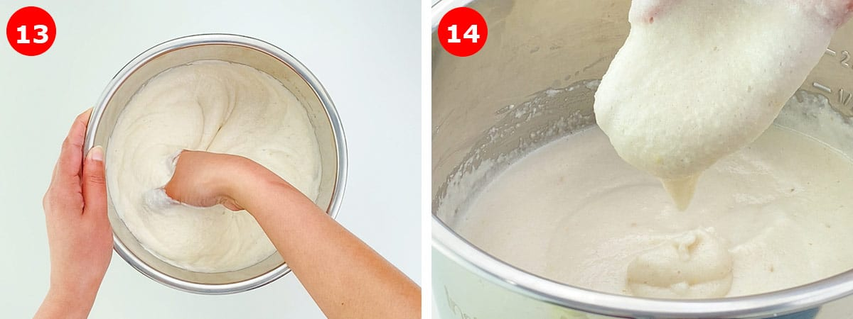 hand mixing the batter, and ensuring  idli batter has easy drop consistency