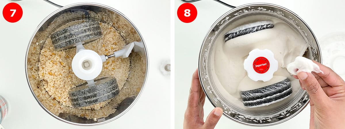 before and after shots of grinding idli batter in a wet grinder