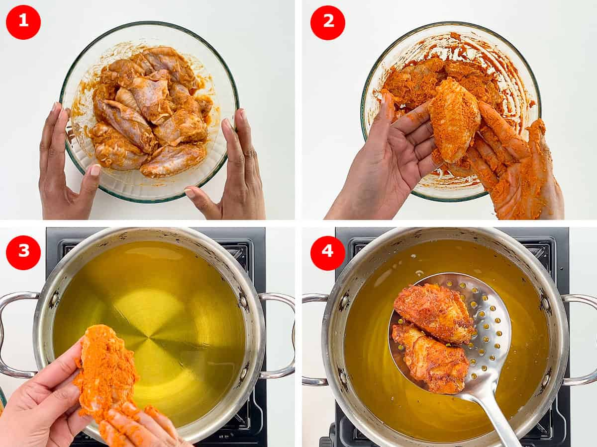 step by step photos of how to make fried chicken wings - indian style, shared with step photos of marinating and then frying the chicken wings