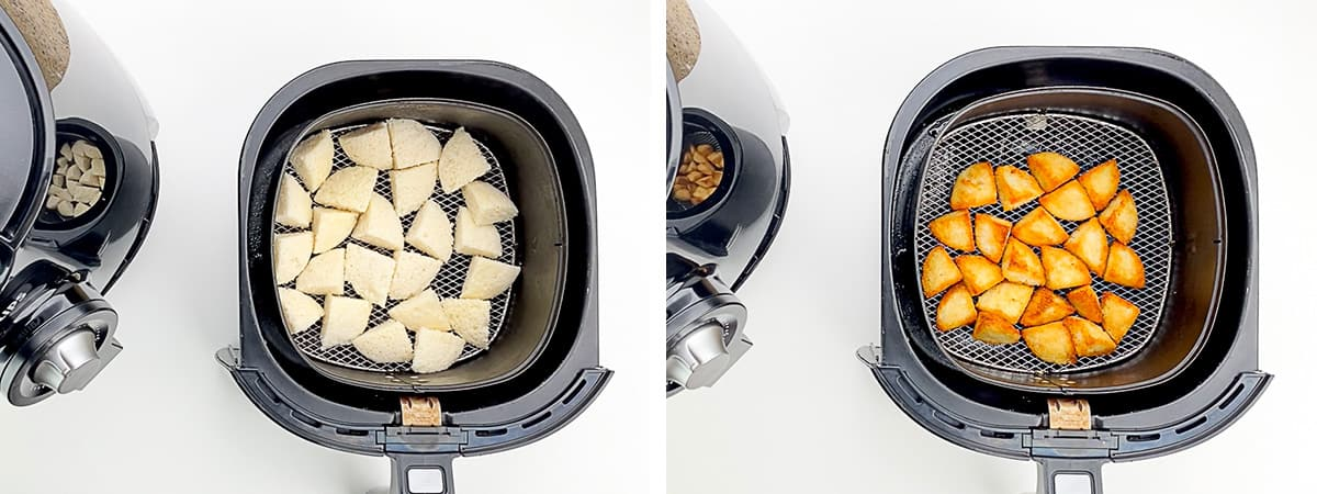 before and after shots of making idli fry in air fryer
