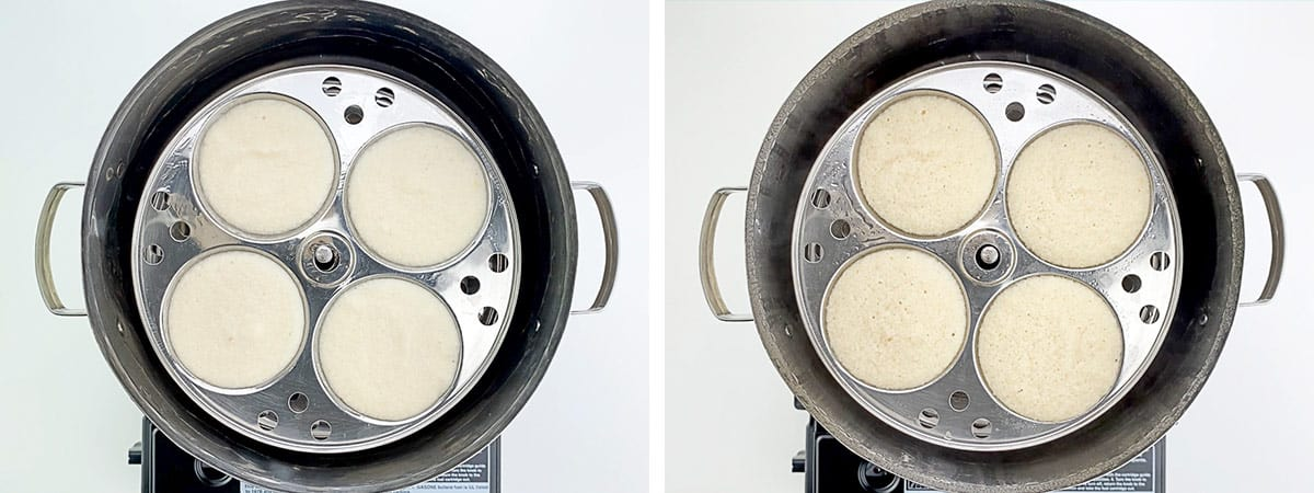 before and after shots of steaming idlis in traditional idli utensil / steamer