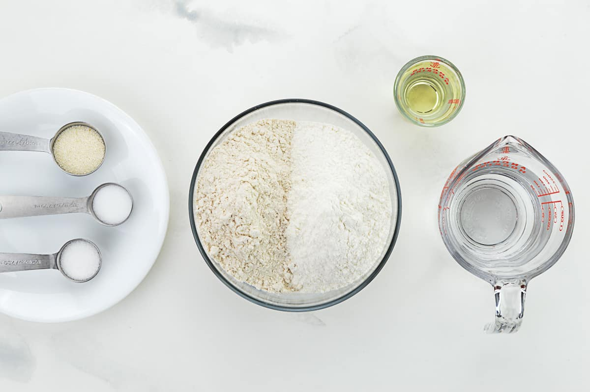 top shot of all the ingredients required to make puris