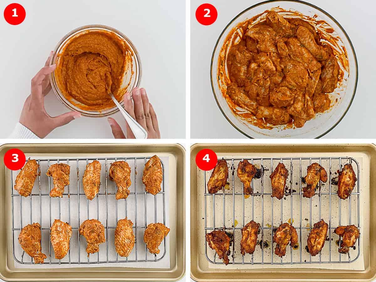 step by step photos of making tandoori masala marinade, marinating the chicken, and baking the tandoori wings in oven