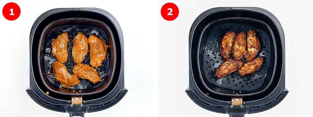 step by step photos of making tandoori chicken wings in the air fryer