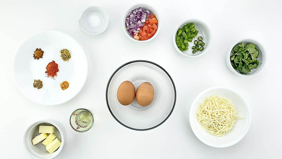 top shot of all the ingredients required to make masala omelette