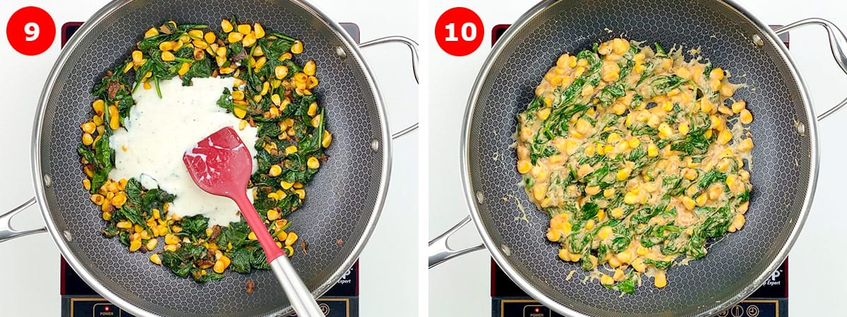 step by step images of assembling sandwich filling by mixing together spinach corn mix and white sauce