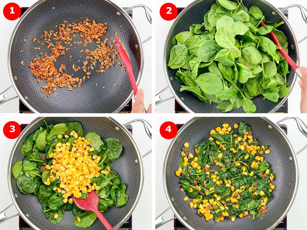 step by step images of making spinach corn mix for sandwich