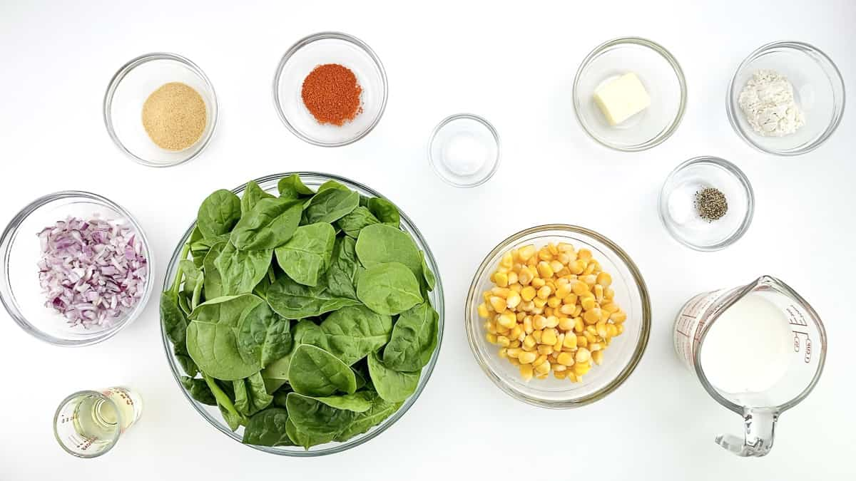 top shot of all the ingredients required to make spinach corn sandwich