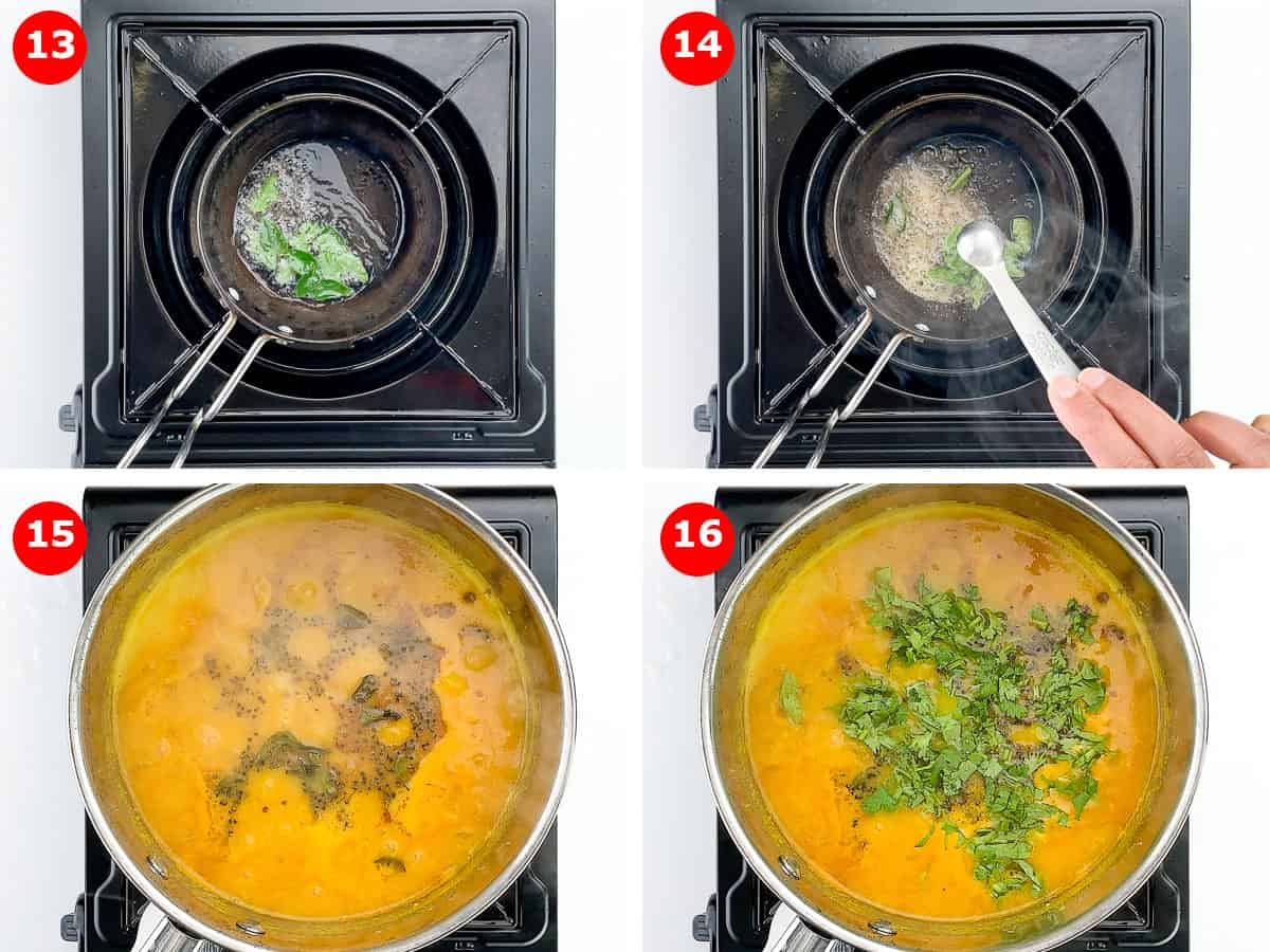 step by step photos of making tempering for sambar, and adding it to the sambar, along with fresh chopped coriander leaves
