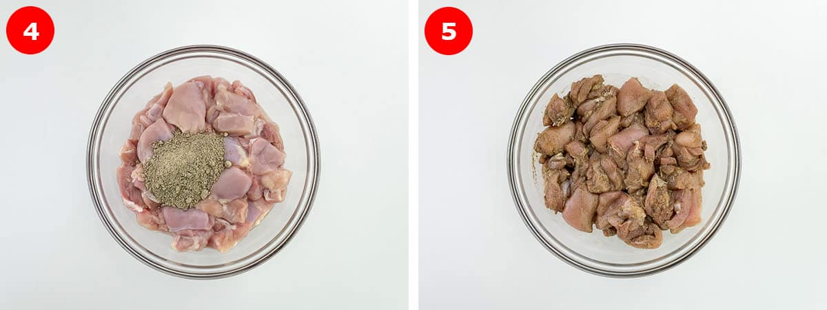 side by side before and after shots of applying spice rub to chicken