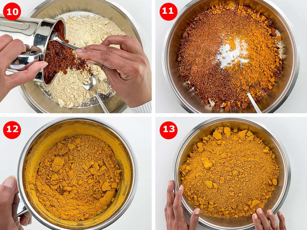 a photo collage of step by step images showing blending of all the roasted ground powders to make sambar masala powder