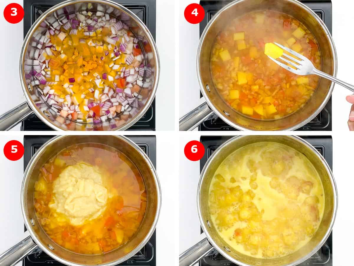 step by step photos of boiling vegetables, and then cooking vegetables and boiled dal together