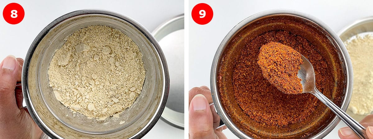a photo collage of step by step images showing grinding of roasted ingredients