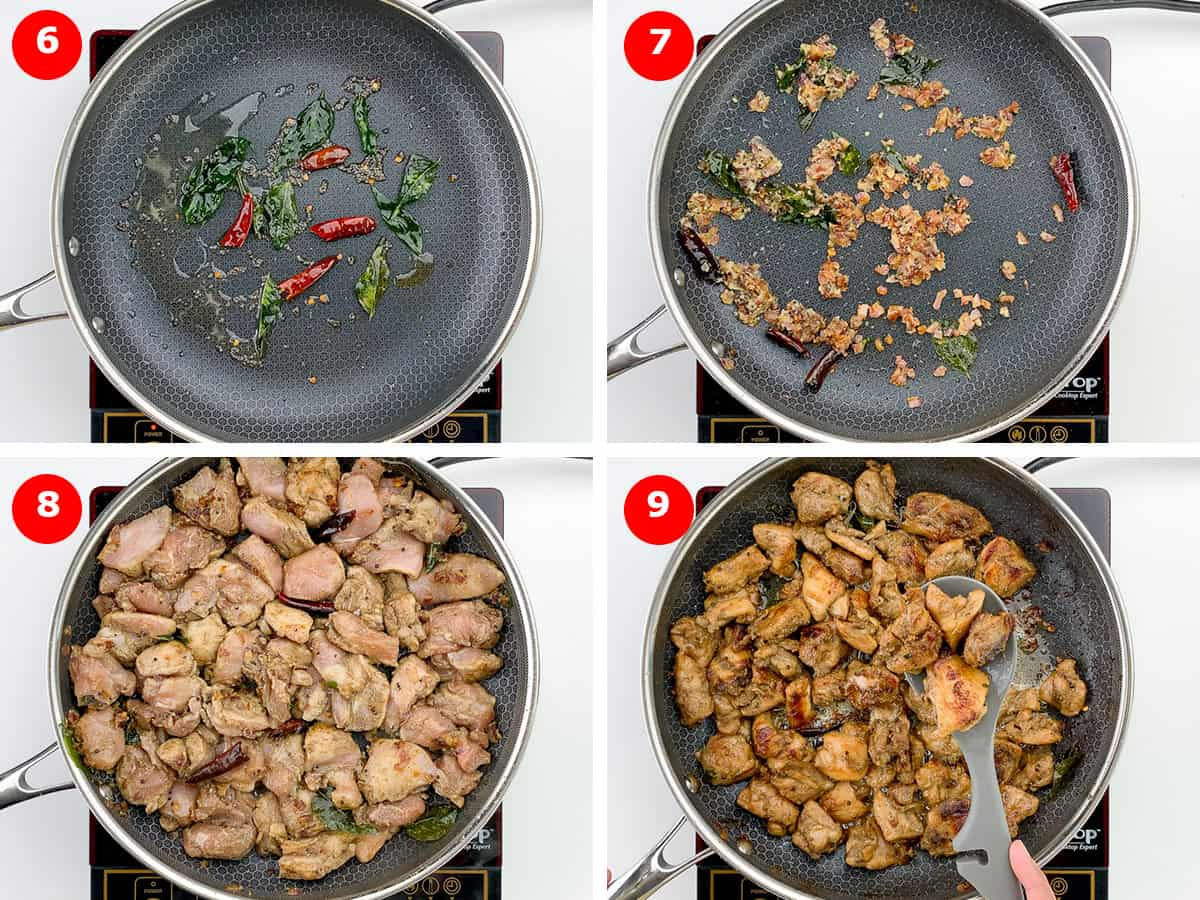 step by step photos of making pepper chicken dry