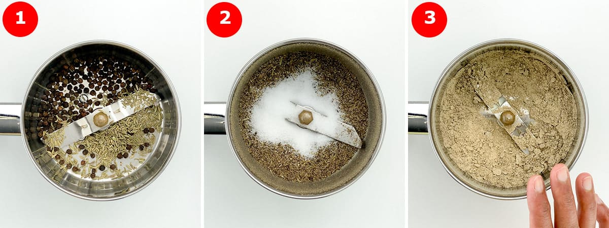 step by step photos of making the spice rub for chicken marination