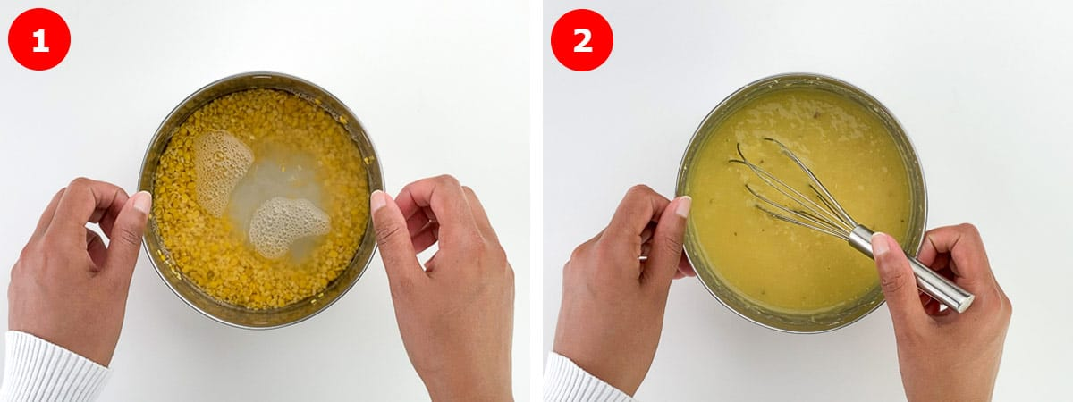 side by side before and after shots of pressure cooking dal for sambar