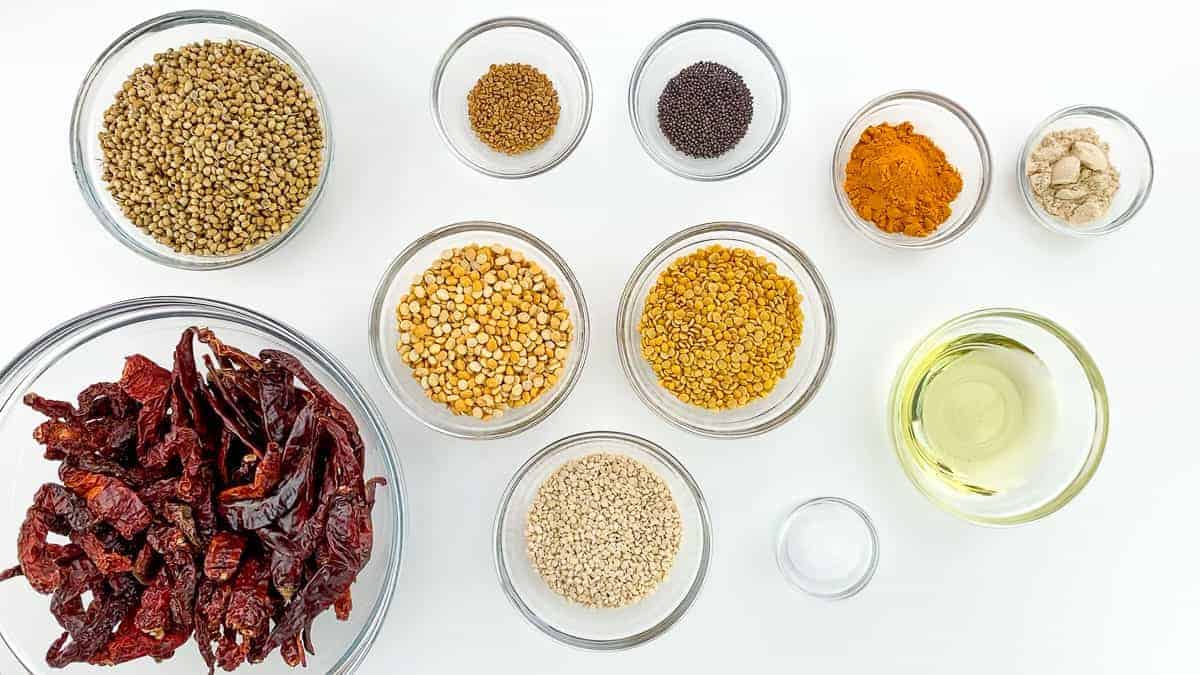 top shot of all the ingredients required to make sambar powder