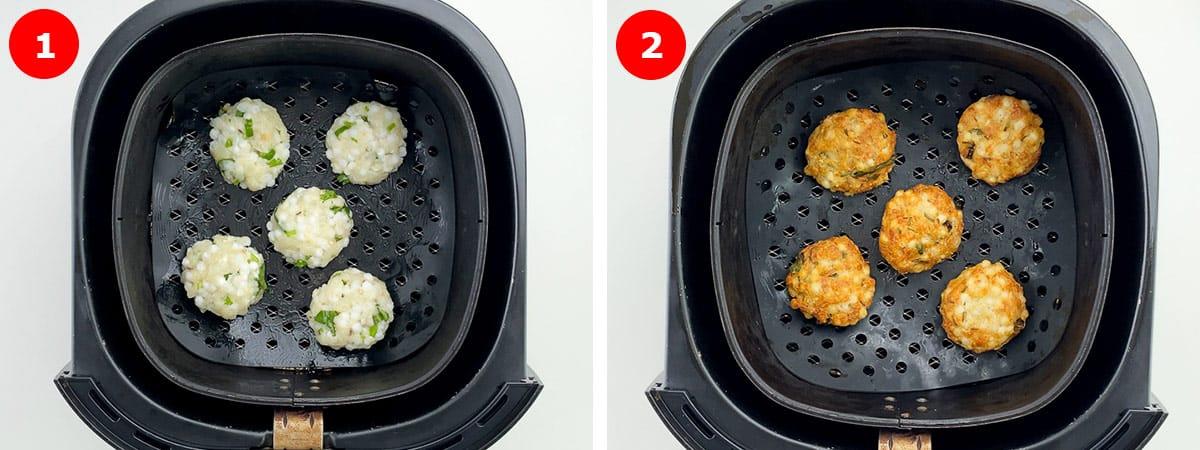step by step photos of air frying sabudana vadas