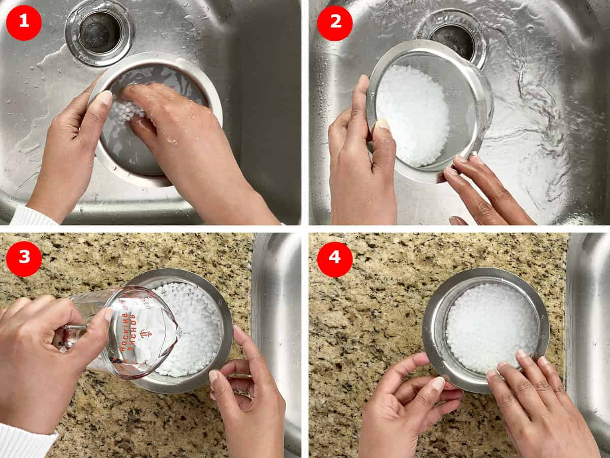 step by step photos of first rinsing and then soaking sabudana in water