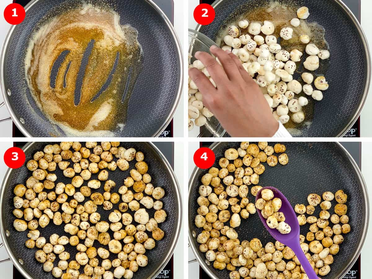 step by step photos of making roasted makhana snack