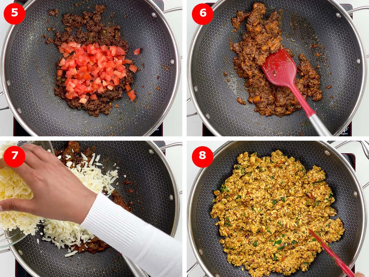 step by step photos of roasting tomatoes and then adding paneer to make paneer bhurji