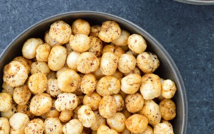 top shot of a bowl full of roasted makhana